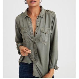 AE boyfriend fit Olive Green button down shirt